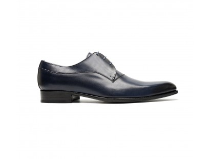 Plain derby in black blue calf