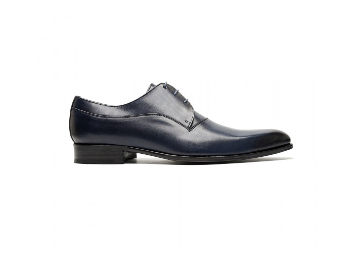 Plain derby in black blue calf