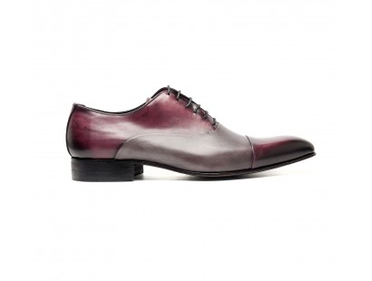 Burgundy and grey calf oxfords