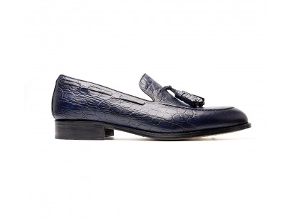 blue embossed calf tassel loafers