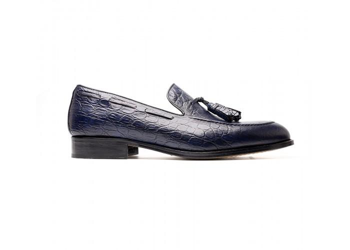 blue embossed calf tassel loafers
