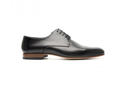 smooth Black calf leather derbies