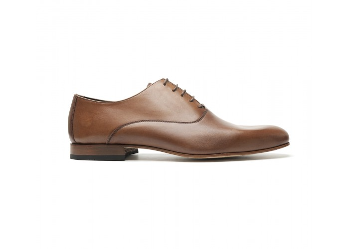 smooth brown calf leather oxfords