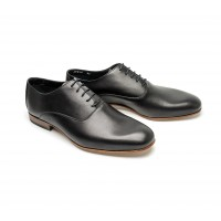 smooth black calf leather oxfords