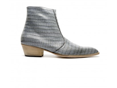 Grey coco stamped leather zipped boot