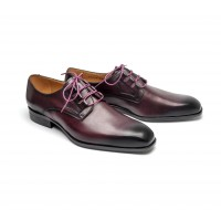 Derby ghillie en veau bordeaux patiné