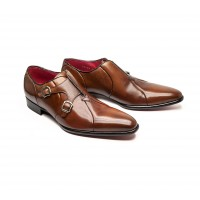 double monk oxfor in brown calf leather