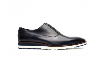 blue patinated calf oxford with rubber sole