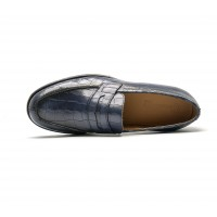 embossed calf leather penny loafer - commando soles