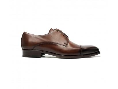 brown calf cap toe derbies