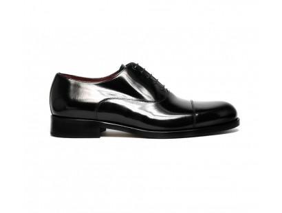 Black patent leather straight cap oxford